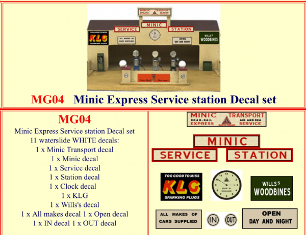 MG04 Tri-ang ( Triang ) Minic Express Service Station Decal set